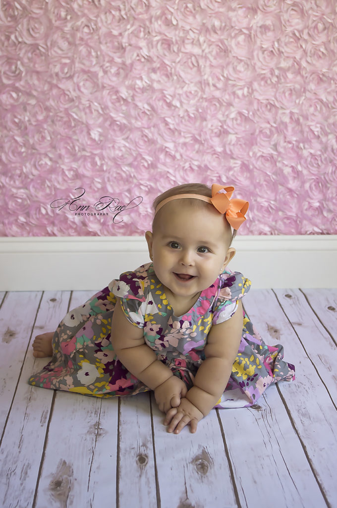 Baby Girl in floral dress Photography session in St Louis