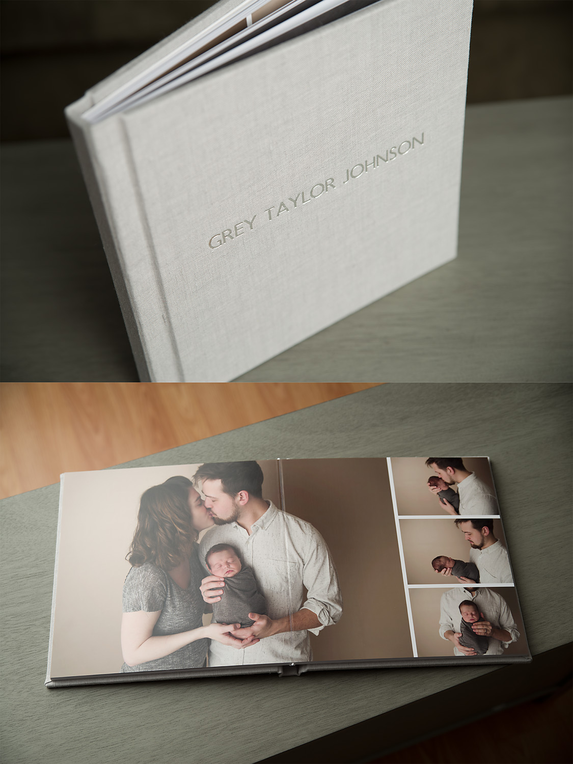 Ordering an album at Ann Rae Photography when booking a Newborn Portrait Experience