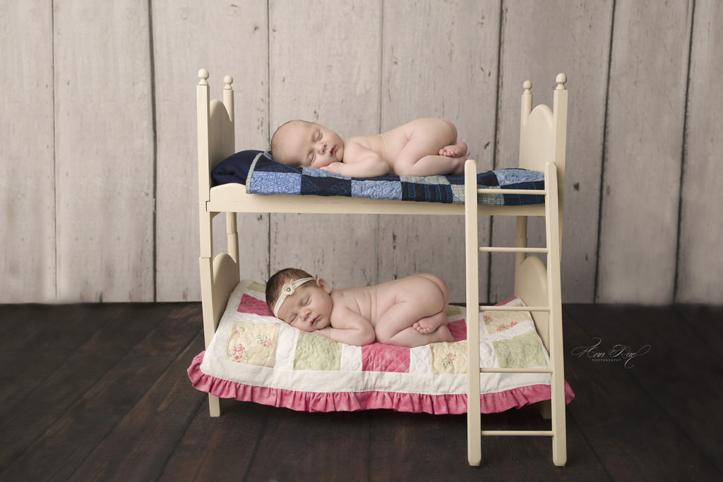STL twins posed so sweetly on bunk beds