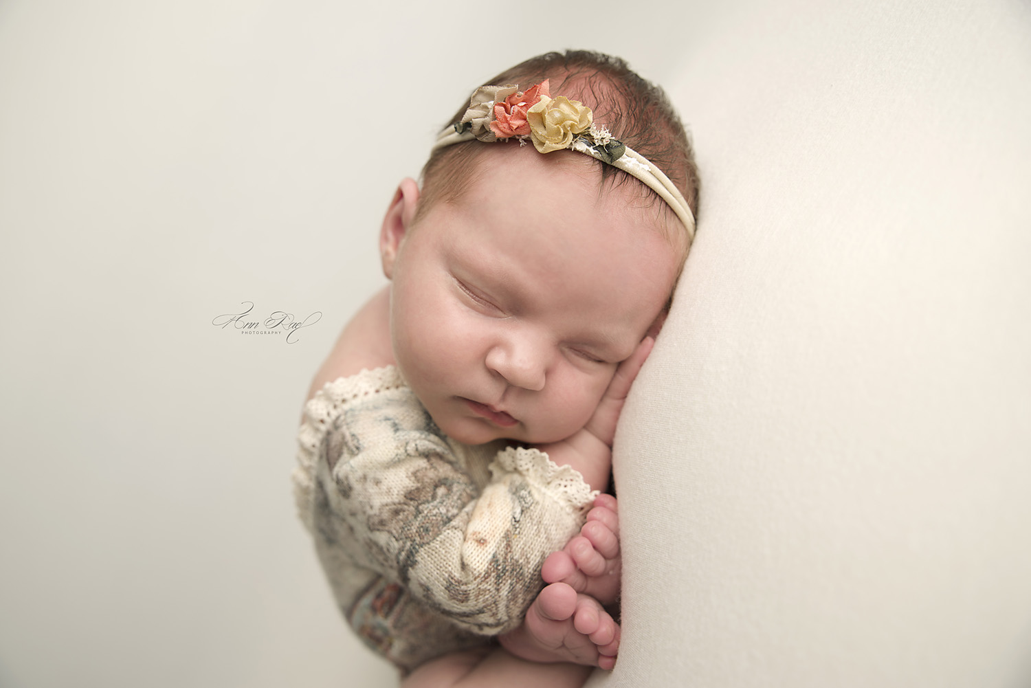 Newborn Portfolio image with floral outfit