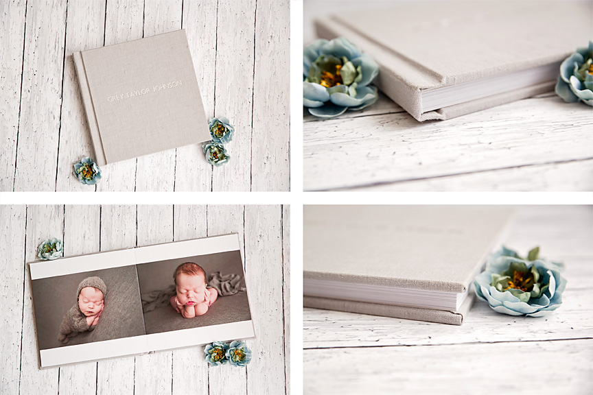 West County Newborn Baby Photographer Displays Albums in Studio
