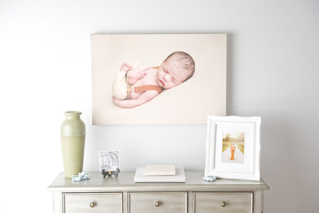 West County Studio Baby Photographer Displays Canvas in her Studio